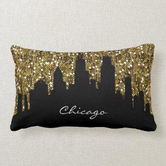 Gold Confetti Glitter Chicago Skyline Landmark Lumbar Pillow