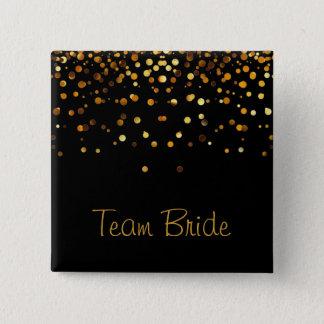 Gold Confetti Glitter Faux Foil Black Team Bride Pinback Button
