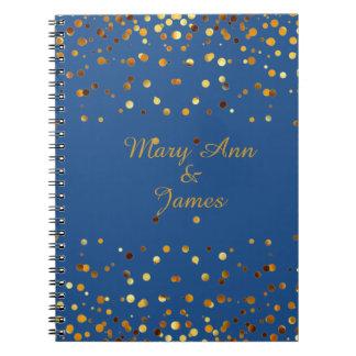 Gold Confetti Glitter Faux Foil Blue craft Notebook