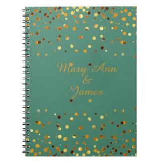 Gold Confetti Glitter Faux Foil Green craft Notebook
