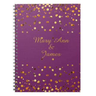 Gold Confetti Glitter Faux Foil Purple craft Notebook