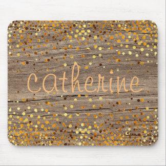 Gold Confetti Glitter Faux Foil Wooden Glittery Mouse Pad