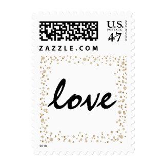 Gold Confetti Glitter Love Postage