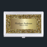 """Gold Confetti Glitter Print   DIY Text Business Card Case<br><div class=""""desc"""">Professional Business Card Holders in an elegant stylish gold confetti glitter print with DIY text. (Note: Not Real Glitter, this is a print) 100% Customizable. Ready to Fill in the box(es) or Click on the CUSTOMIZE button to add, move, delete, resize or change any of the font or graphics. Made...</div>"""