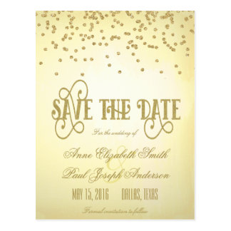 Gold confetti & glitter Save the Date II Postcard