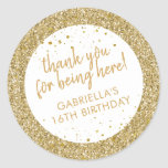 """Gold Confetti Glitter Thank You Birthday Favor Classic Round Sticker<br><div class=""""desc"""">Gold Glitter and Confetti sparkly personalized thank you favor stickers for a fun and girly birthday party. The text is editable making them perfect for a little girl's 1st 5th, or 8th birthday, or a big girl's 13th 15th sweet 16th, 18th or 21st birthday or graduation. The """"thank you for...</div>"""