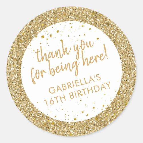 Gold Confetti Glitter Thank You Birthday Favor Classic Round Sticker