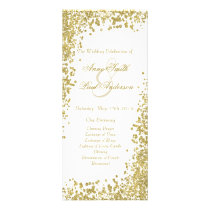 Gold confetti & glitter wedding program V
