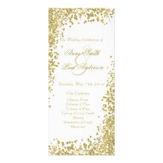 Gold confetti & glitter wedding program V Personalized Rack Card