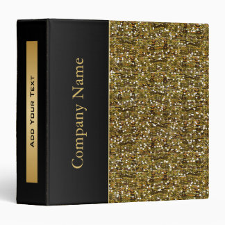Gold Confetti Glitter with Gold Accents 3 Ring Binder
