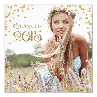 Gold Confetti Graduation Announcement
