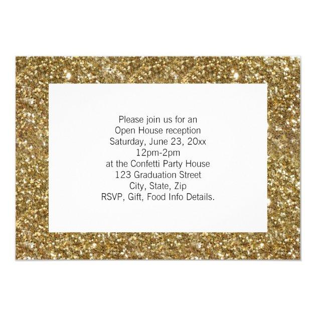 Gold Confetti Graduation Announcement Photo Card (back side)