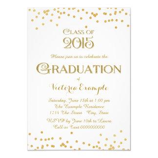 Gold Confetti Graduation Personalized Invitation Cards