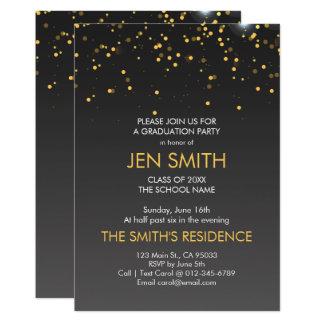 Gold Confetti. Graduation Party Invitation. Card