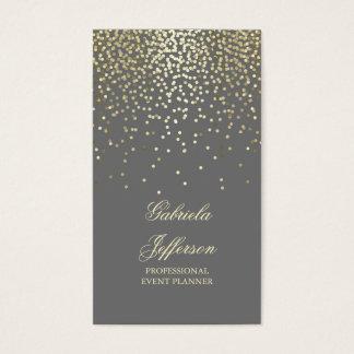 Gold Confetti Grey Elegant Glamour Vintage Business Card