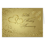 Gold Confetti, Hearts 50th Wedding Anniversary Card at Zazzle