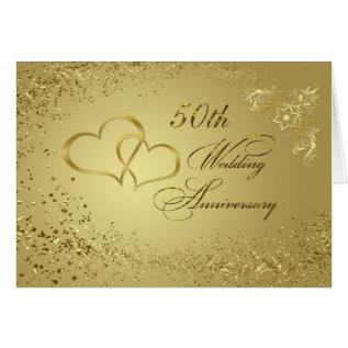 Gold Confetti, Hearts 50th Wedding Anniversary Card at Zazzle