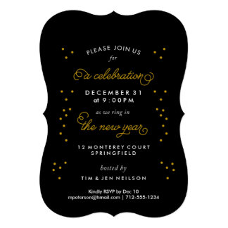Gold Confetti Holiday Party Invitations