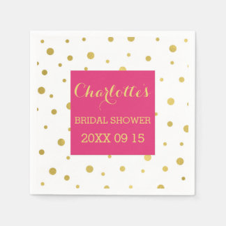 Gold Confetti Hot Pink Bridal Shower Paper Napkin