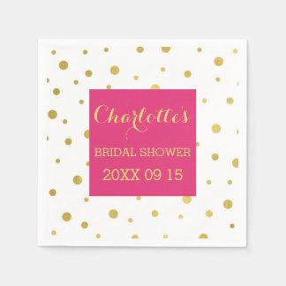 Gold Confetti Hot Pink Bridal Shower Paper Napkin