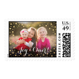Gold Confetti Joy and Cheer Holiday Photo Card Postage
