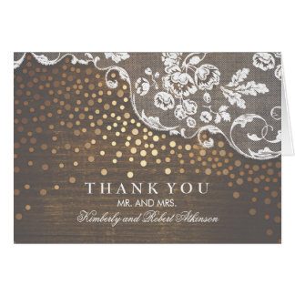 Gold Confetti Lace and Rustic Wood Thank You Card