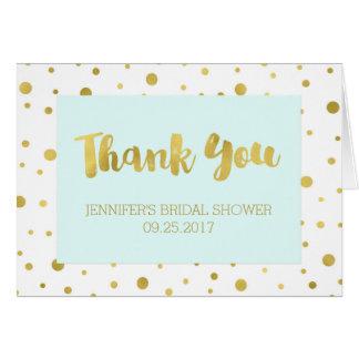 Gold Confetti Light Blue Bridal Shower Thank You Card