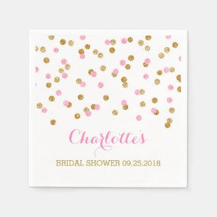 Gold Confetti Light Pink Bridal Shower Paper Napkin at Zazzle