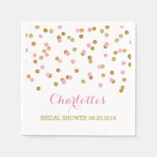 Gold Confetti Light Pink Bridal Shower Paper Napkin