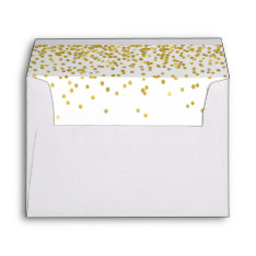 Gold Confetti Lined Envelope at Zazzle