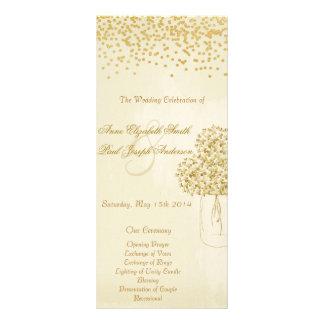 Gold confetti mason jar vintage wedding program II