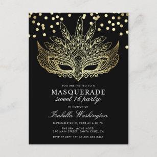 Gold Confetti Masquerade Sweet 16 Party Invitation Postcard