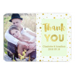 Gold Confetti Mint Wedding Thank You Photo Cards