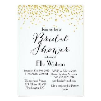 Gold Confetti Modern Bridal Shower Invitation
