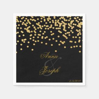 Gold confetti Napkins black II