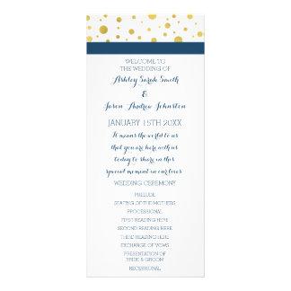 Gold Confetti Navy Blue Wedding Program