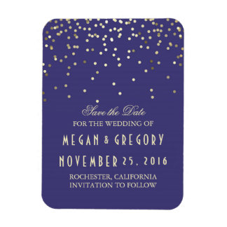 Gold Confetti Navy Vintage Save the Date Magnet