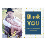 Gold Confetti Navy Wedding Thank You Photo Cards