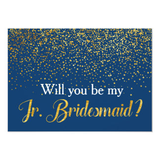 Gold Confetti Navy Will you be My Jr. Bridesmaid Card