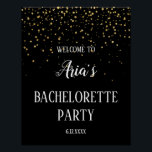 "Gold Confetti on Black Bachelorette Party Welcome Poster<br><div class=""desc"">This Gold Confetti on Black Bachelorette Party welcome poster is perfect for an elegant bachelorette party,  or any other celebration. The design features faux gold confetti on a black background with classy white calligraphy. Personalize the sign with the name of the bride.</div>"