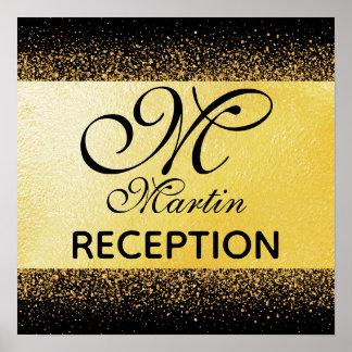 Gold Confetti on Black Background Reception Post Poster