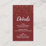 Gold Confetti on Burgundy Details Insert Card
