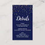 Gold Confetti on Navy Blue Details Insert Card