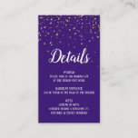 Gold Confetti on Purple Details Insert Card