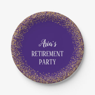 Gold Confetti on Purple Retirement Party Plates