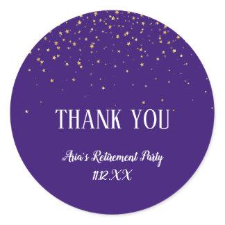 Gold Confetti on Purple Thank You Favor Classic Round Sticker