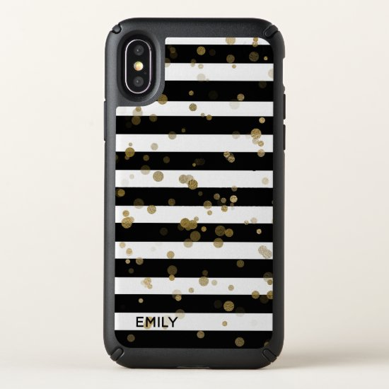 Gold Confetti on Stripes iPhone X Case