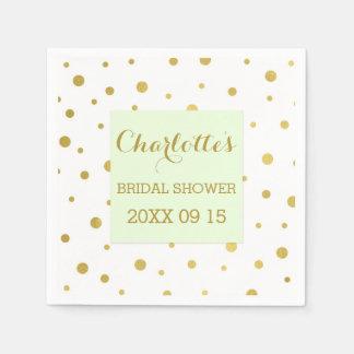 Gold Confetti Pastel Mint Green Bridal Shower Paper Napkin