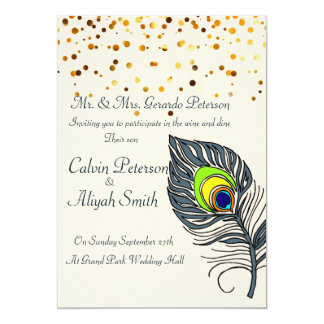 Gold Confetti Peacock Feathers Wedding Card