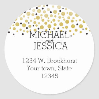 Gold Confetti Personalized  name and address Round Stickers